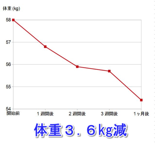 エクスレーブ使用の体重変化表